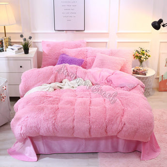 Plush Fluffy Pink Bed Set - MADE TO ORDER