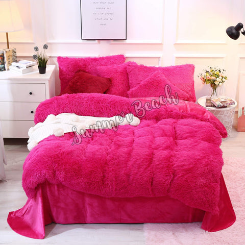 Plush Fluffy Blush Pink Bed Set - MADE TO ORDER