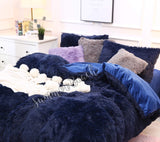 Plush Fluffy Navy Blue Bed Set - MADE TO ORDER