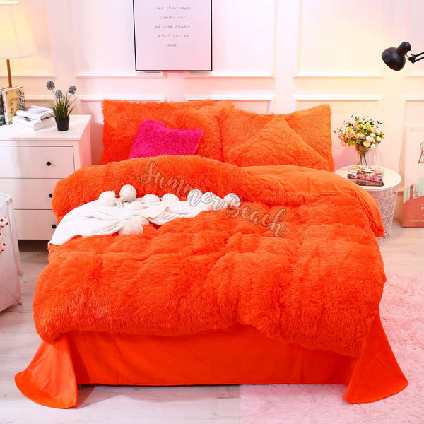 Plush Fluffy Orange Bed Set - MADE TO ORDER