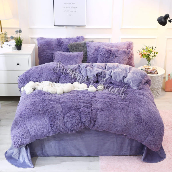 Plush Fluffy Purple Grey Bed Set - MADE TO ORDER