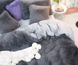 Grey Plush Fluffy Square Cushion Cover - No insert