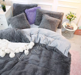 Plush Fluffy Grey Bed Set - MADE TO ORDER