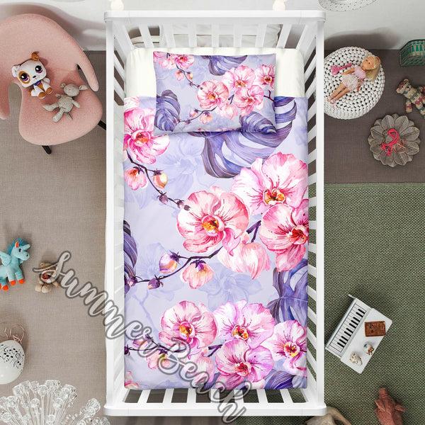 "Tropical Pink Orchard Cot Doona Cover Bed Set - ""Made To Order"" Will take 2 - 3 weeks to arrive - Cotton"