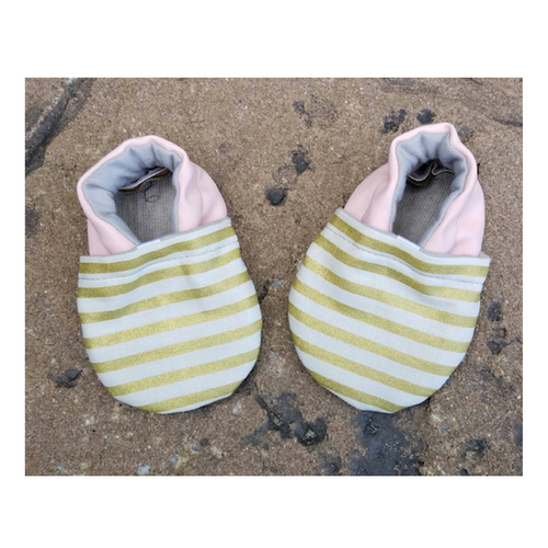 Striped Gold and Pink Baby Girl Shoes - mooi lab