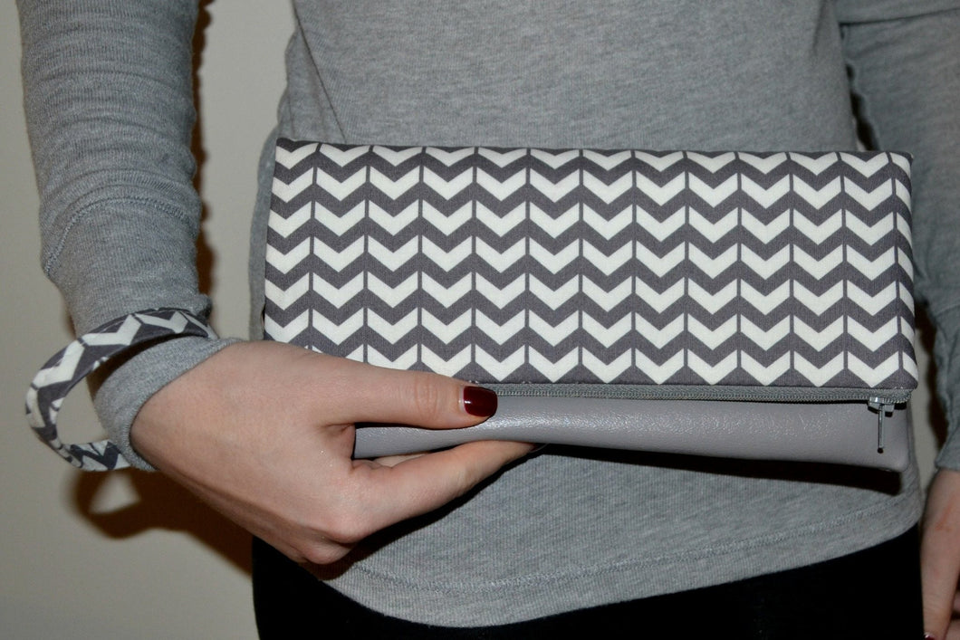 Adrienne Fold Over Clutch - Grey Chevron with Grey Vegan Leather - mooi lab