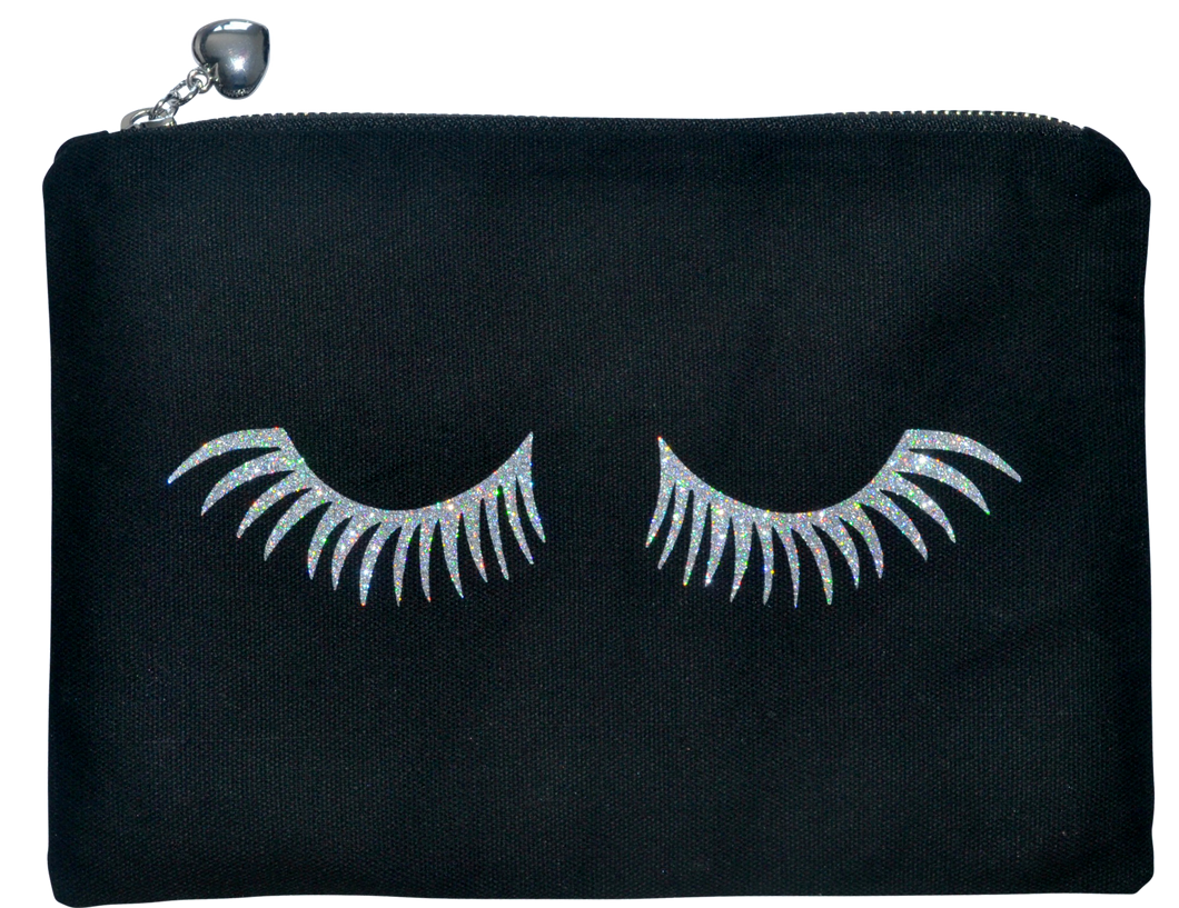 Silver Glitter Eyelashes Makeup Canvas Bag