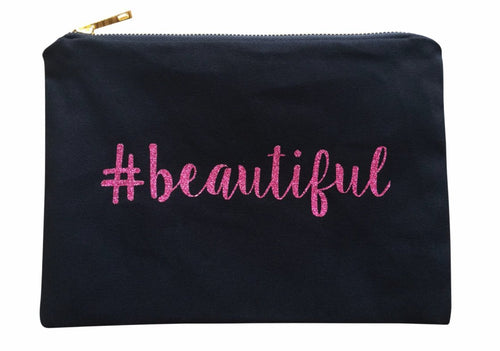 AMAZON EXCLUSIVE -- Pink BEAUTIFUL Glitter Makeup Canvas Bag - mooi lab