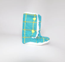 Turquoise Plaid Baby Boots (Organic Cotton) - mooi lab