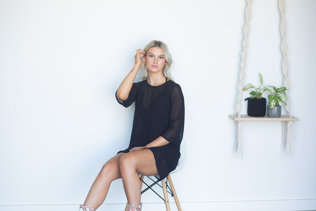Twiggy Dress // Black Plain Sheer