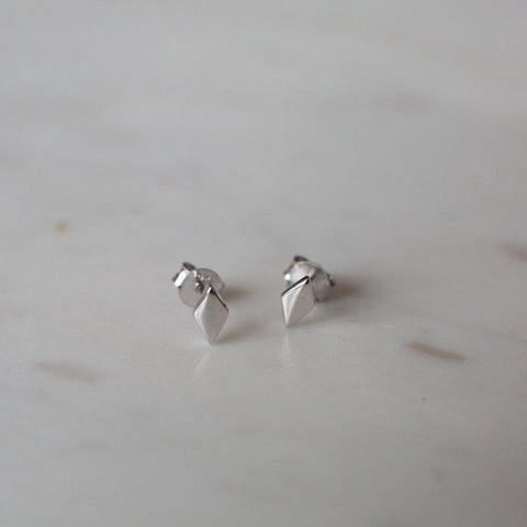 Diamond Stud Earrings - Sterling Silver