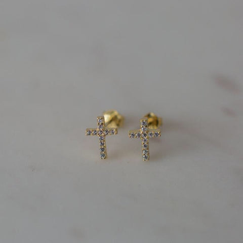 Sparkle Cross Studs - Gold