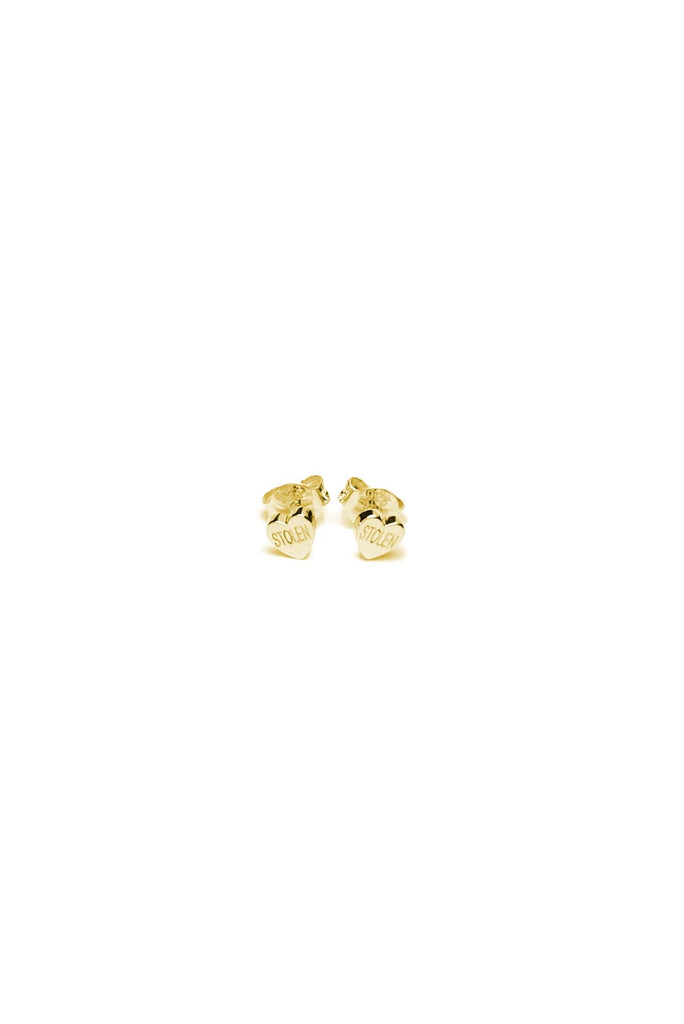 Tiny Stolen Heart Earrings // Yellow Gold Plated