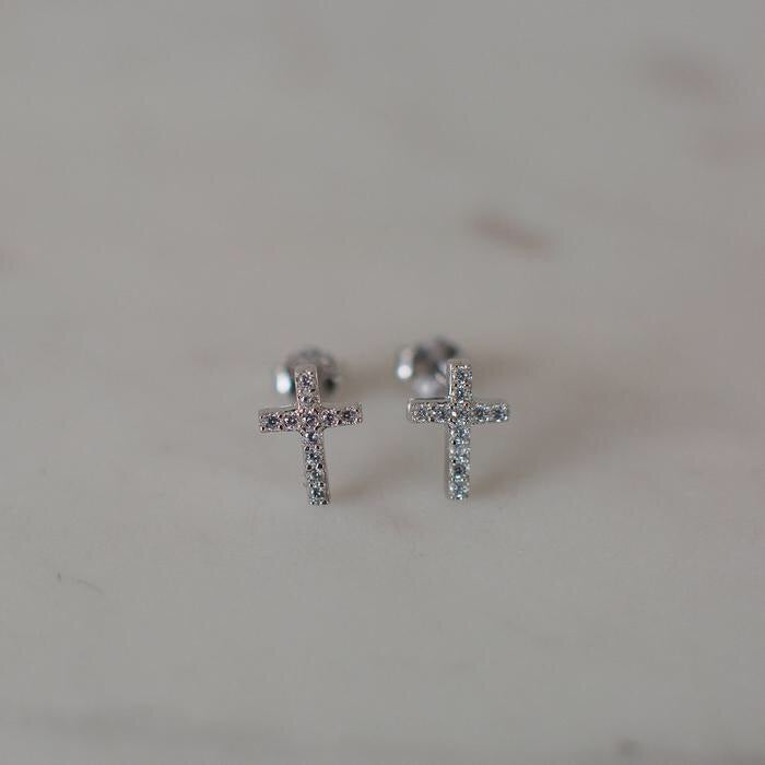 Sparkle Cross Studs - Silver