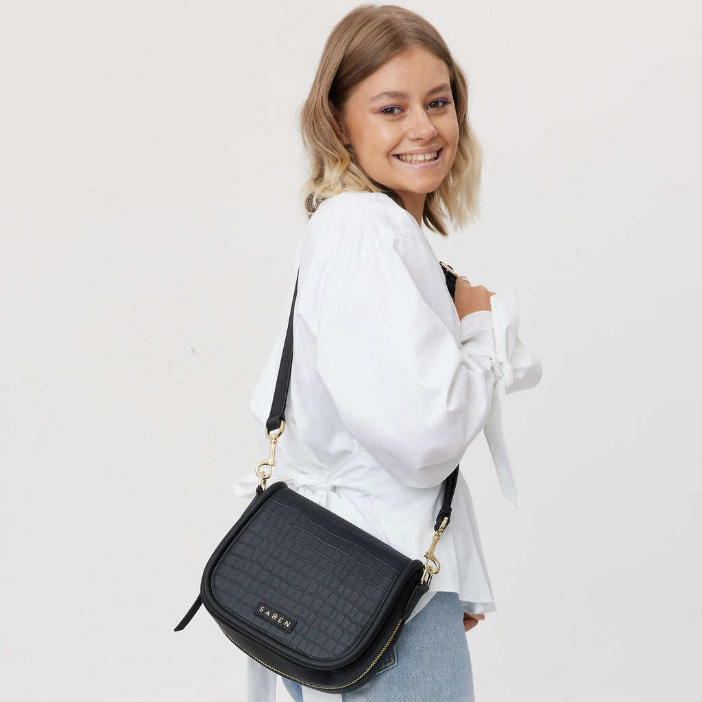 Sadie Crossbody // Black Croc