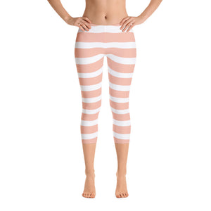Peach Stripes Capri Leggings