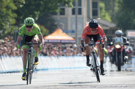 Ben King (Cannondale) wins stage 2 by half a wheel before Evan Huffman (Rally Cycling)