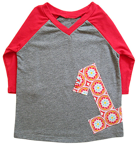 little bean long slv tee : birthday red