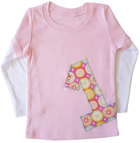 little bean double slv tee : birthday pink