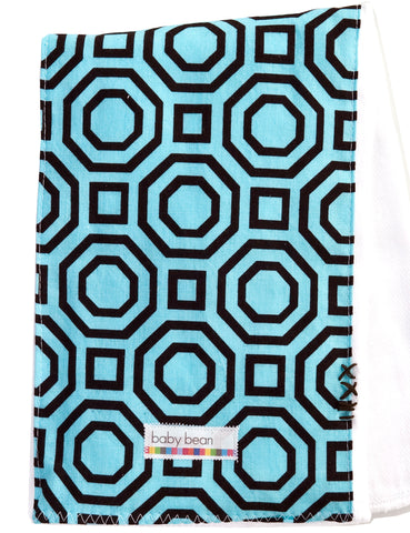 burp cloth : aqua geo