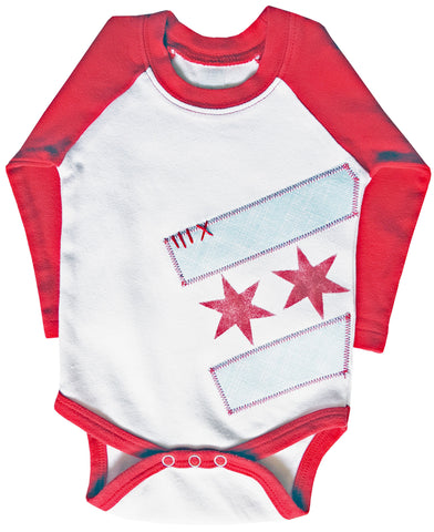 bodysuit : Chicago Flag raglan