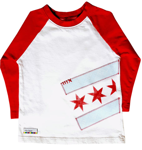 little bean tee : Chicago Flag raglan