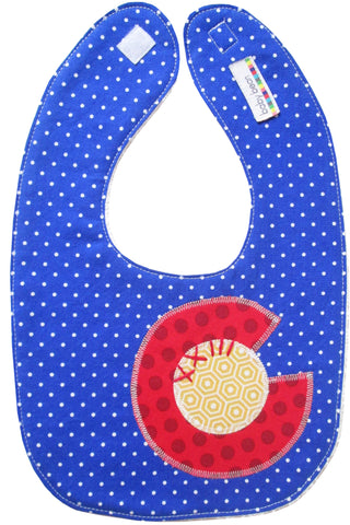 appliqued bib : CO Flag dot