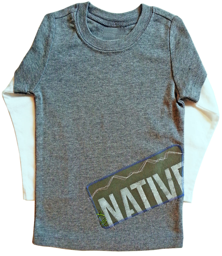little bean double slv tee : CO native grey