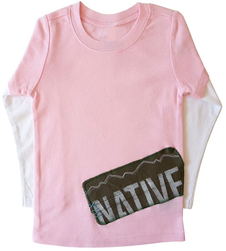 little bean double slv tee : CO native pink