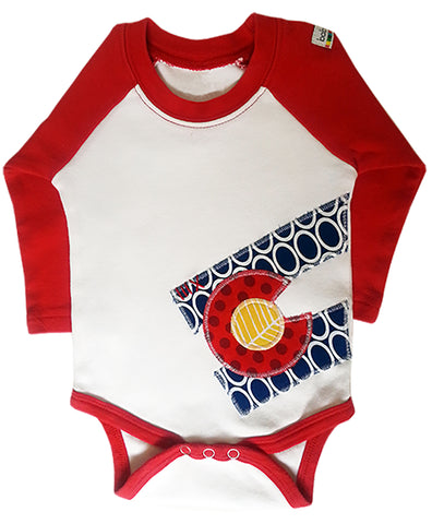 bodysuit : CO Flag oval L red raglan