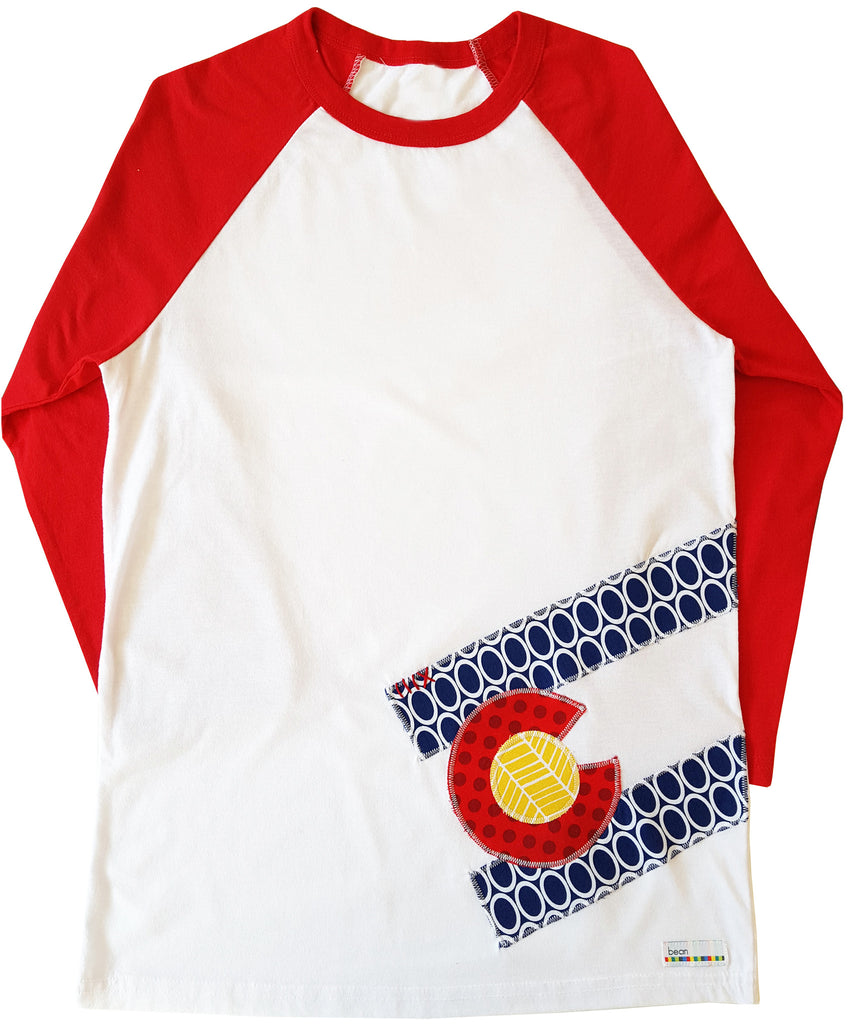 tween bean tee : CO Flag oval red raglan L