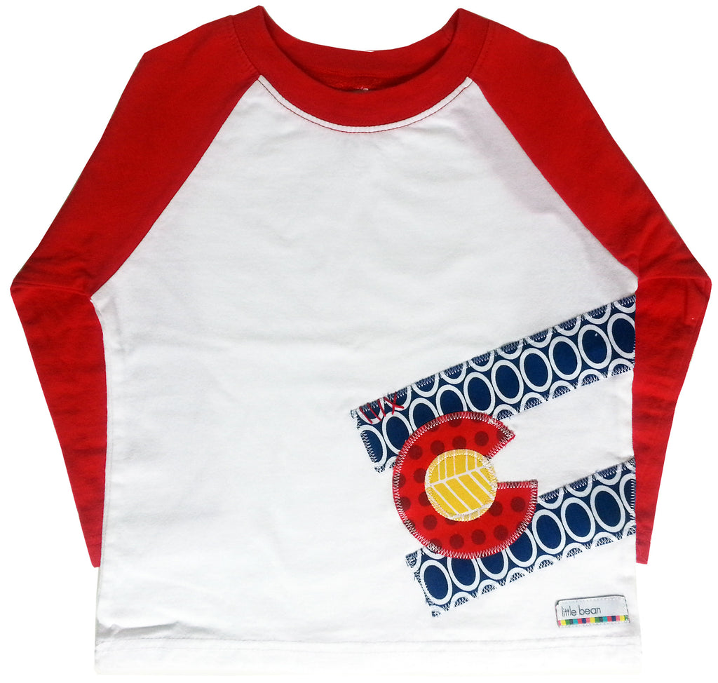 little bean tee : CO Flag oval L red raglan