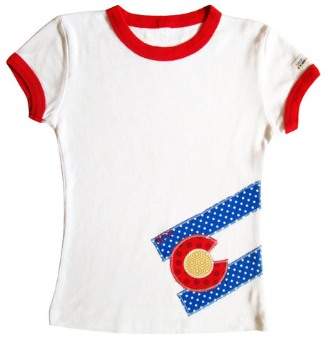 tween bean tee : CO Flag dot red ringer