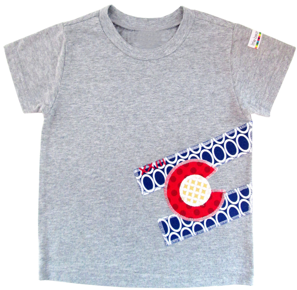 little bean tee : CO Flag oval S grey