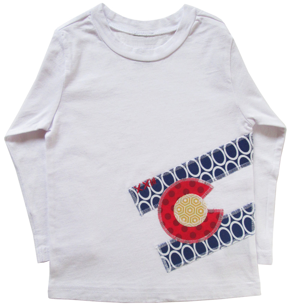 little bean tee : CO Flag oval L wht