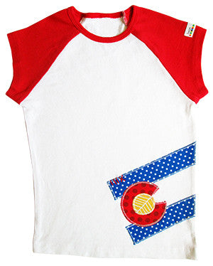 tween bean tee : CO Flag dot red raglan