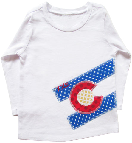 little bean tee : CO Flag dot L wht