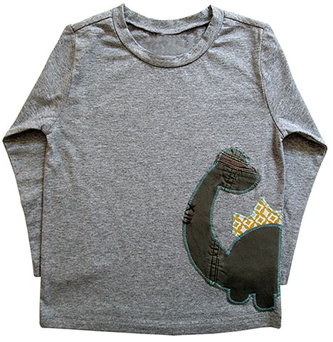 little bean tee : dino citron geo