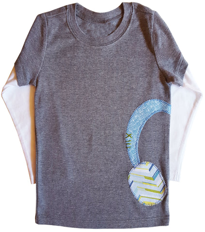 little bean double slv tee : headphones grey