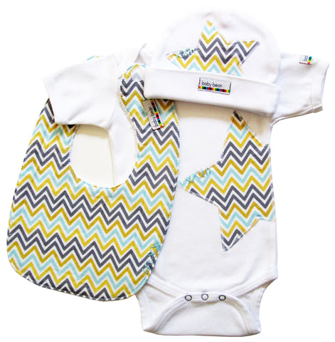 layette set : stripe chevron