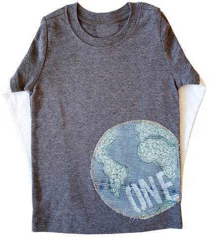 little bean double slv tee : one world grey