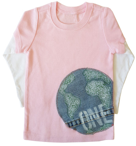 little bean double slv tee : one world pink