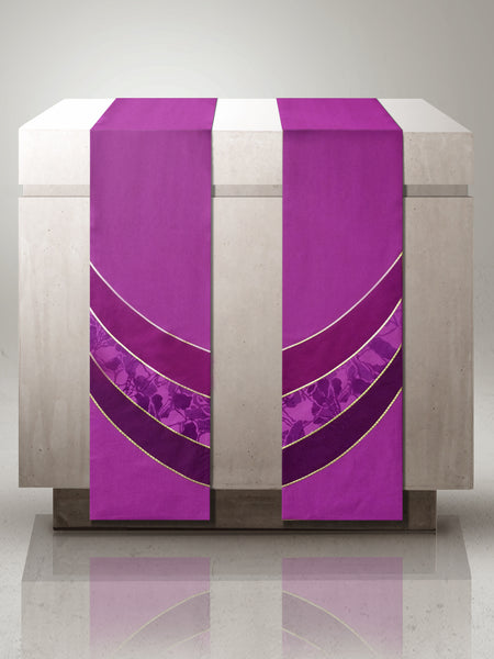The Francis Curvilinear Vista Purple & Bella Purple <br> Altar Scarves