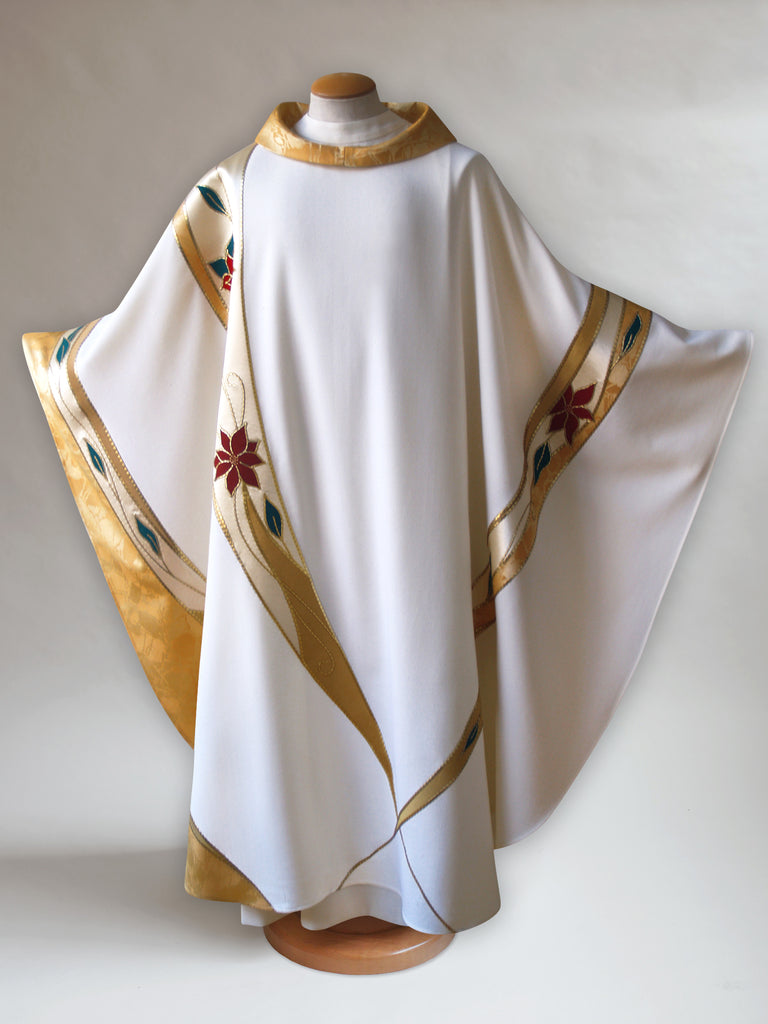 Curvilinear Poinsettia Christmas Chasuble