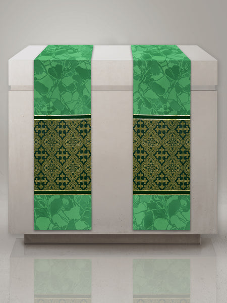 Classic Bella & Brocade Green Altar Scarves