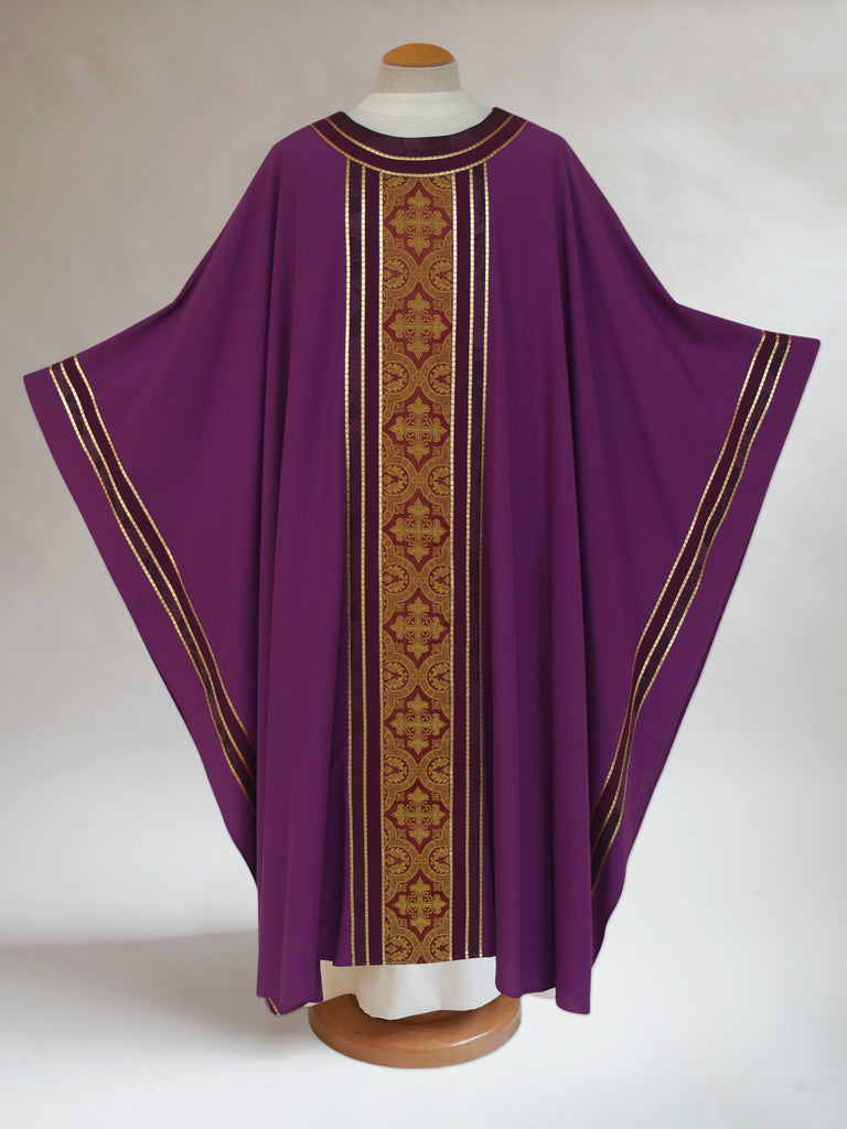 Classic Three Brocade Purple Chasuble