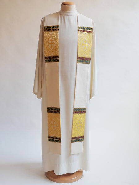 3 brocade white stole easter and christmas