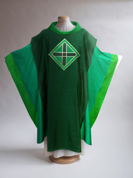 Layered Silk Green Sample Chasuble