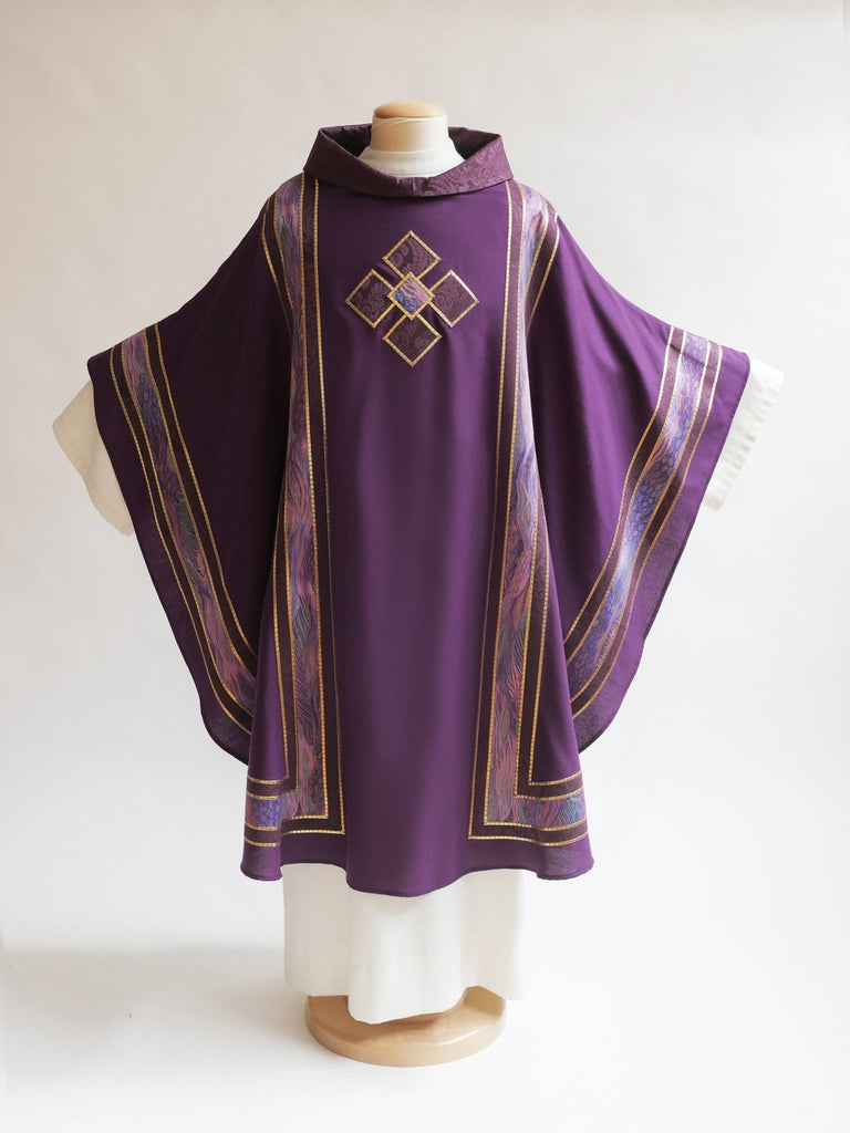 lent 300 series symmetrical with cross purple chasuble