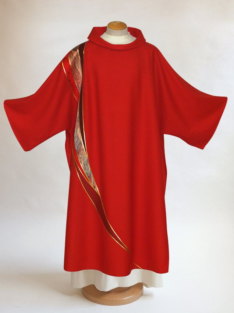 red curvilinear dalmatic for pentecost and confirmations